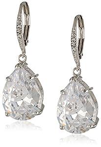 "CZ by Kenneth Jay Lane ""Classic"" Pear-Shape Simulated Diamond Drop Earrings (12 cttw)"
