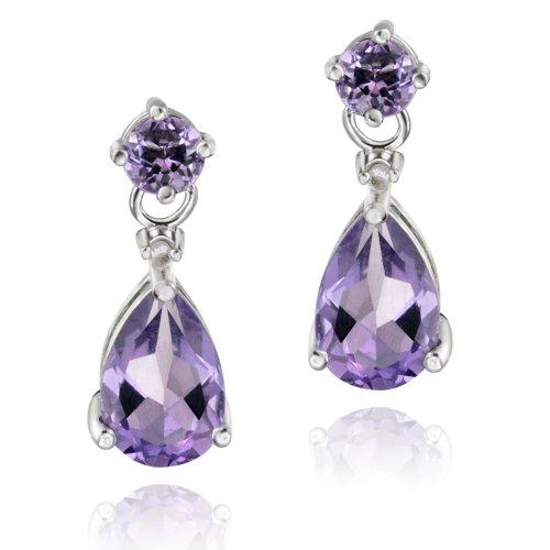 Sterling Silver 3ct Amethyst & Diamond Accent Teardrop Earrings