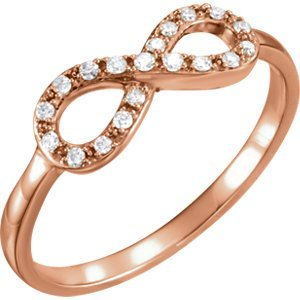 14kt Rose 1/8 CTW Diamond Infinity Ring