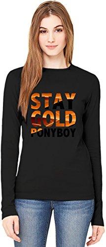 Stay Gold Ponyboy Slogan T-Shirt da Donna a Maniche Lunghe Long-Sleeve T-shirt For Women  100% Premium Cotton  DTG Printing  Medium