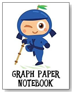 Graph Paper Notebook For Boys - Cute little blue ninja makes an exciting cover for this graph paper notebook for younger boys.
