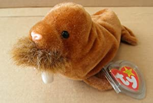 TY Beanie Babies Paul the Walrus Stuffed Animal Plush Toy - 7 inches long - Brown