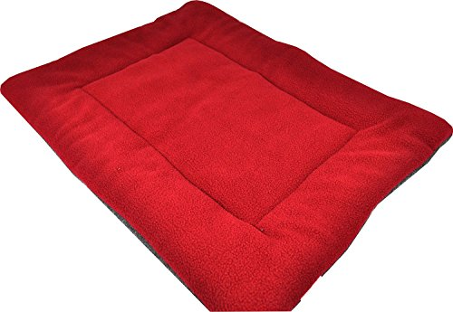 OCSOSO® Comfy Soft Warm Pet Dog/Cat Nap Mat Fleece Durable Puppy Sleep Bed Matress Dog Crate Pad (Beige, Maroon, Blue, Green, Orange, Red) (Red, XL (41.3 * 26.7 * 1.57 Inch))