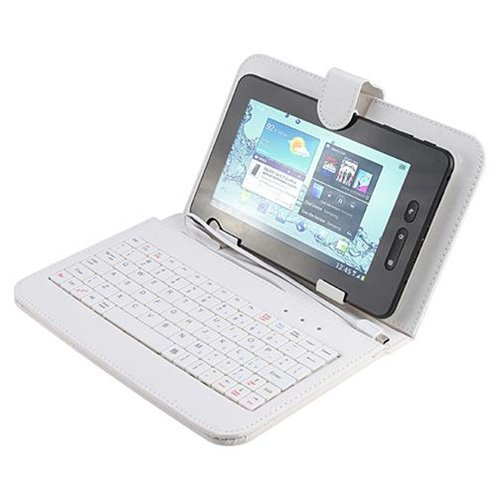 Callmate Keyboard with Leather Case for all 7-inch Tablet with Micro USB OTG Cable (White)