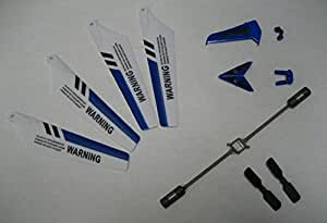 LanLan Full Replacement Parts Set for Syma S107 RC Helicopter, Main Blades, Tail Decorations, Tail Props, Balance Bar,Blue Set
