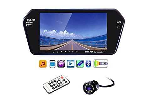 AutoSun 7 Inch Full HD Touch Screen Bluetooth LED Screen+8LED Reverse Camera for Car