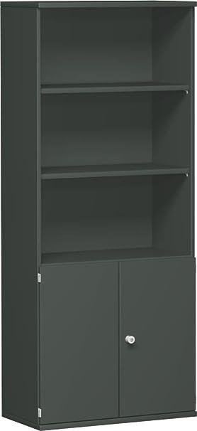 Armadio modulare 1+ 2OH porte legno, chiudibile, 3-5OH porta, 3decorazioni a ripiani, 800x 425x 1920, grafite/grafite, Gera mobili