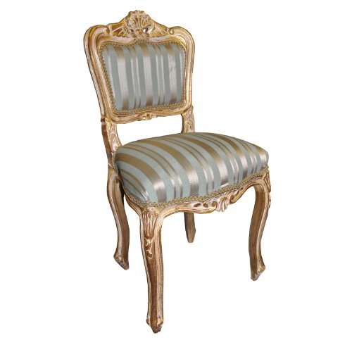 Antique Finish Gold Frame Duck Egg Stripe Fabric Louis Bedroom Chair