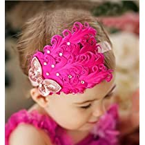 Lovely Ovely Unusal Cotton Girls Baby Red Feather Hairband Rose Bow Headband