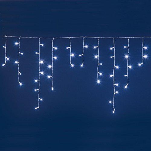 LED-Eiszapfen-Lichterkette 3 x 0,7 m, 60 Leds kaltweiß, transparentes Kabel, mit Lichtspielen