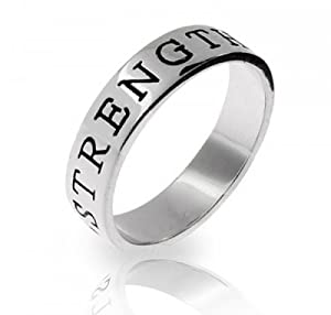 Bling Jewelry Sterling Silver Strength Stackable Friendship Band Ring