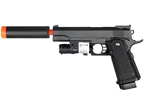 G6A M1911 1911 A1 Metal Airsoft Spring Pistol with Silencer & Laser (Air Rifle Silencer compare prices)
