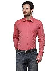 Ausy Red Cotton Blend Mens's Shirt