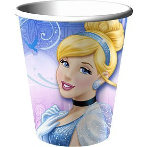 Hallmark Mens Disney Cinderella Sparkle 9 oz. Paper Cups Black Medium