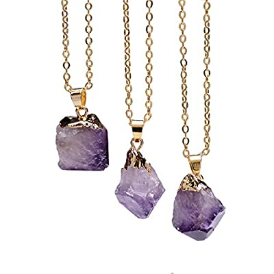 Sedmart Irregular Natural Gemstone Amethyst Topaz Quartz Necklace Jewelry