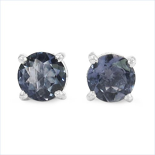 Jewelry-Schmidt-Earrings / Studs genuine Indian Iolite / Water Sapphire Silver Rhodium-1, 80-carat