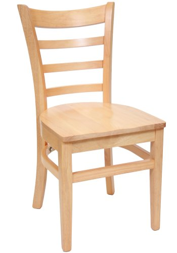 Supreme Chair Co. Solid Wood Commercial Restaurant Dining Chair Ladderback Style Natural Finish Solid Wood Seat