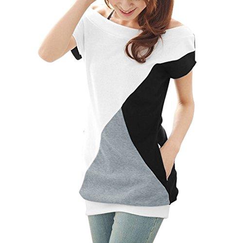 Allegra K Women Boat Neck Short Sleeve Color Block Tee Shirts