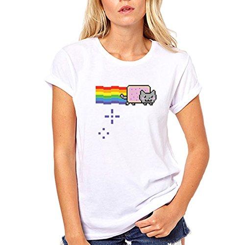 GullPrint Women's Nyan Cat Rainbow Funny Tee Shirt Medium White