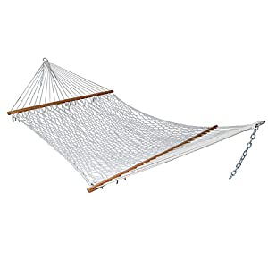 "Zeny® Hammock 59"" Cotton Double Wide Solid Wood Spreader Outdoor Patio Yard Hammock"