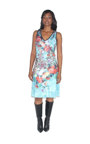 Women's Animal Print Print Woven Dress in Teal BCNO5413