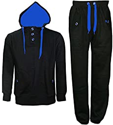 New Mens Contrast Cord Fleece Warm Up Hooded 3 Button Jogging Tracksuit -Black - Blue Cord-L