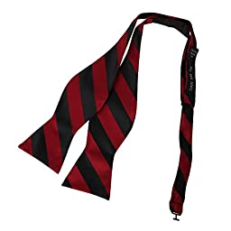 DBA7A05G Dark Red Black Stripes Bow Tie Microfiber Various For Groomsmen Self-tied Bow Tie By Dan Smith