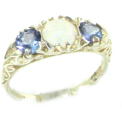 Luxury Ladies Solid Sterling Silver Natural Opal & Tanzanite Victorian Trilogy Ring - Size 12 - Finger Sizes 5 to 12 Available - Suitable as an Anniversary ring, Engagement ring, Eternity ring, or Promise ring