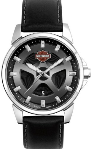 Harley-Davidson® Men's Dress Watch. Spoke Collection. Black/Gray Spoke-Pattern Dial. Black Strap. 76B158