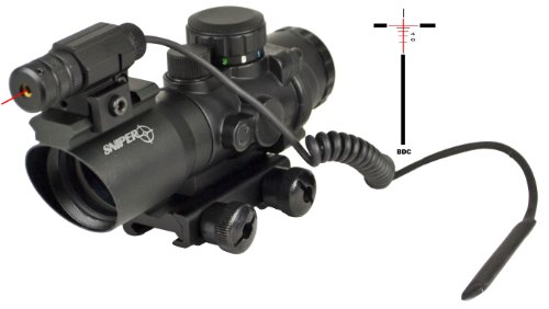 Sniper Tactical Prismatic Scope With Single Rail And Red Laser Less Than 5 Mv On Top And Bdc Reticle