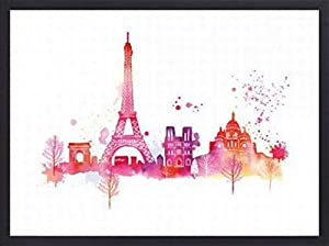 Paris Poster Art Print and Frame (Wood) - Paris Skyline, Eiffel Tour And Other Buildings, (32 x 24 inches)
