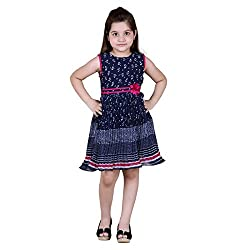 NAVEENS Shiffon Navy Blue Round Neck Party wear Dress for Girls