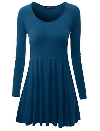 Doublju Womens Long Raglan Sleeve Scoop Neck Flare Tunic Top TEAL X-SMALL