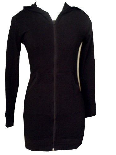 Ooh La La Long Hooded Jacket in Black French Terry