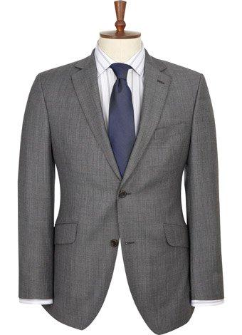 Austin Reed Contemporary Fit Grey Semi Plain Jacket REGULAR MENS 46