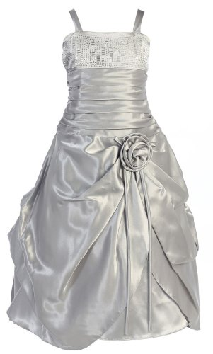 Wonder Girl Barbara Big Girls' Satin Long Pick Dress With Rhinestones 12 Silver