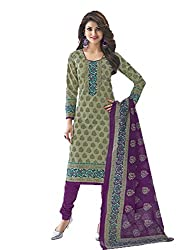 Stylish Girls Women Cotton Printed Unstitched Dress Material (SG530_Green_Free size)