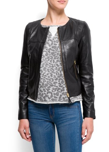 Mango Women's Zippers Leather Jacket