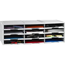 Storex 12-Compartment Literature Organizer/Document Sorter, Grey (61601U01C)