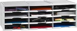 Storex 12-Compartment Literature Organizer/Document Sorter, Grey (61601U01C)