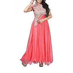 Destiny Enterprise Unstitched Silk Net Pink Color Embroideried Party Wear Gown Material for Women