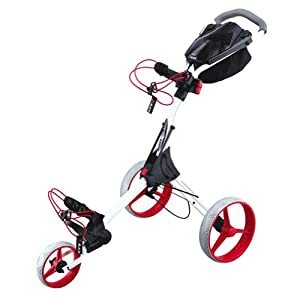 BIG MAX IQ PLUS ONE CLICK SHAKE FOLDING GOLF PUSH CART GEAR -WHITE RED by Big Max