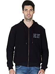 Hypernation Black Color Casual Full Zipper Hooded Sweatshirts For Men