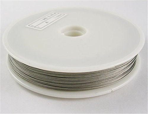 Pandahall 1 Roll Tiger Tail Wire Spool, Stainless Wire, Silver, 0.38mm, 50m/roll