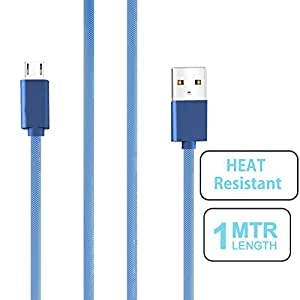 small candy Nylon Braided Micro USB Cable with Super fast charging up to 2.4Amps For Huawei Ideos X5 -Blue