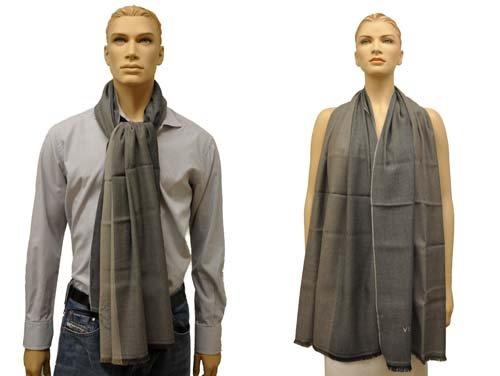 Versace antisguardi Sciarpa Scialle Sciarpa chal Bufanda con Versace Medusa-testa e Versace logo, 70 x 185 x 1 cm grigio taglia unica