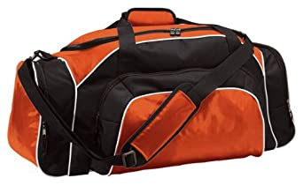 Two-Way Zipper Tournament Duffle Bag, Orange/Black/White, One Size