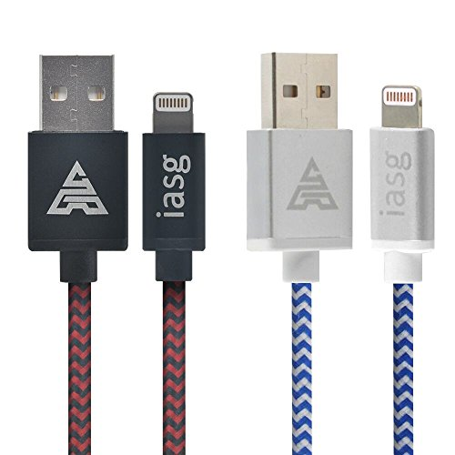 iasg [Apple MFi Certificato] 2xPack Nylon Intrecciato Cavo Lightning su USB con reversibile connettore in metallo per Apple iPhone 7 / 7 Plus / 6s / 6 / 5s / iPad / iPod 1M/3.3FT (Bianco e Blu/Nero e Rosso)