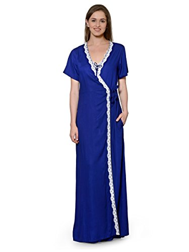 Patrorna-Two-Piece-Navy-Blue-Natural-Fabric-Nighty-with-Robe