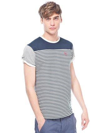 Ringspun Striped T-shirt - Dark blue - Mens